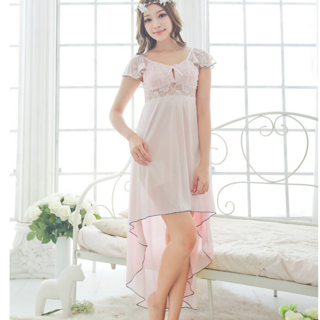 Free shipping women pink lace sexy nightdress girls  plus size Sleepwear nightgown M1810-2