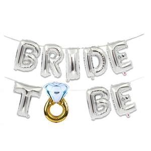 Image 3 - 웨딩 신부 샤워 16 inch 골드 실버 신부 편지 포일 풍선 다이아몬드 반지 풍선 암탉 파티 호의 장식