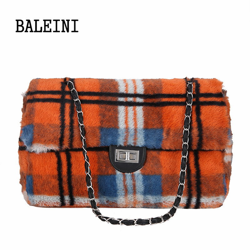 BALEINI Plaid Wool+PU Handbags Women s Messenger Bags Casual Pu Leather  Chain Crossbody Shoulder Bags For Women Bolsa Feminina-in Shoulder Bags  from Luggage ... 49bc3d54623e5