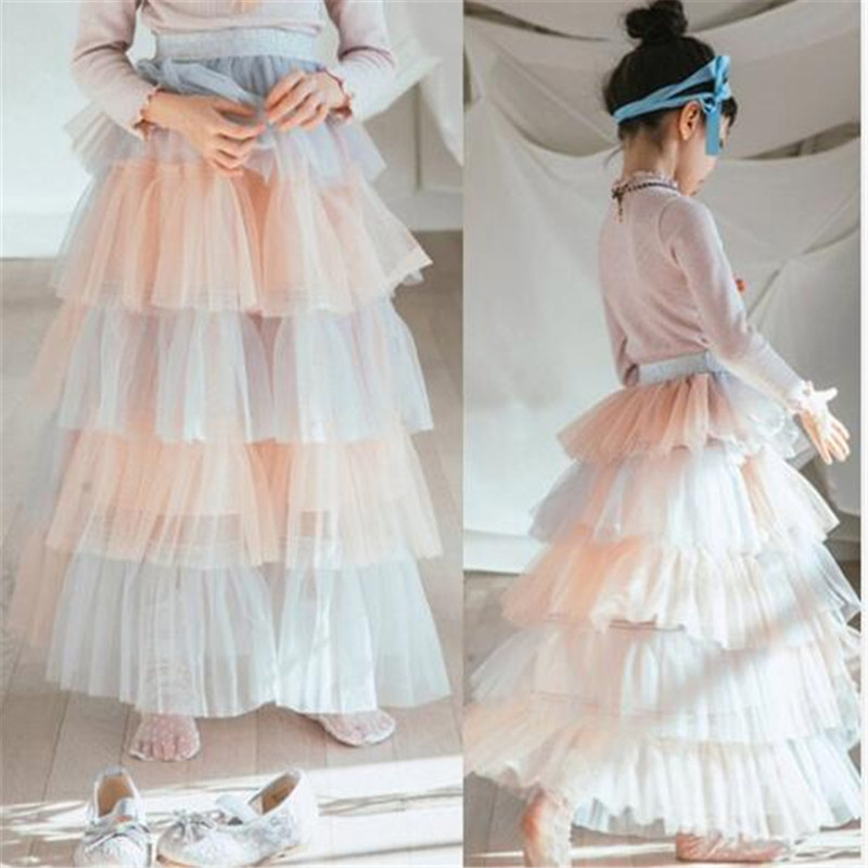 2018 Spring Summer Teenage Girl Skirts Tiered Gauze Fluffy Skirts Patchwork Color Fashion Cake Skirts For Children Clothing