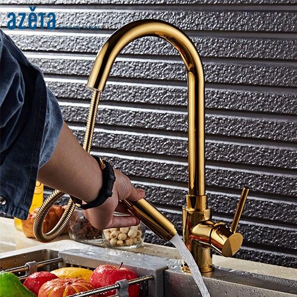 Azeta Pull Out Kitchen Faucets Golden Brass Kitchen Sink Tap 360 Degree Rotate Kitchen Mixer Deck