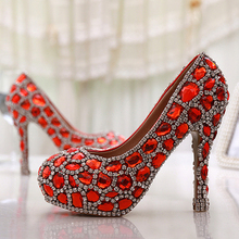 Handmade Glitter Red Crystal Gems Bridal Shoes Bling Rhinestone Party Prom Shoes Luxury Cinderella Shoes Platforms
