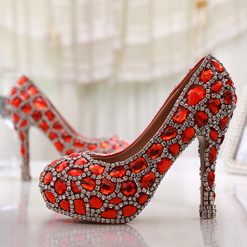 Handmade Glitter Red Crystal Gems Bridal font b Shoes b font Bling Rhinestone font b Party