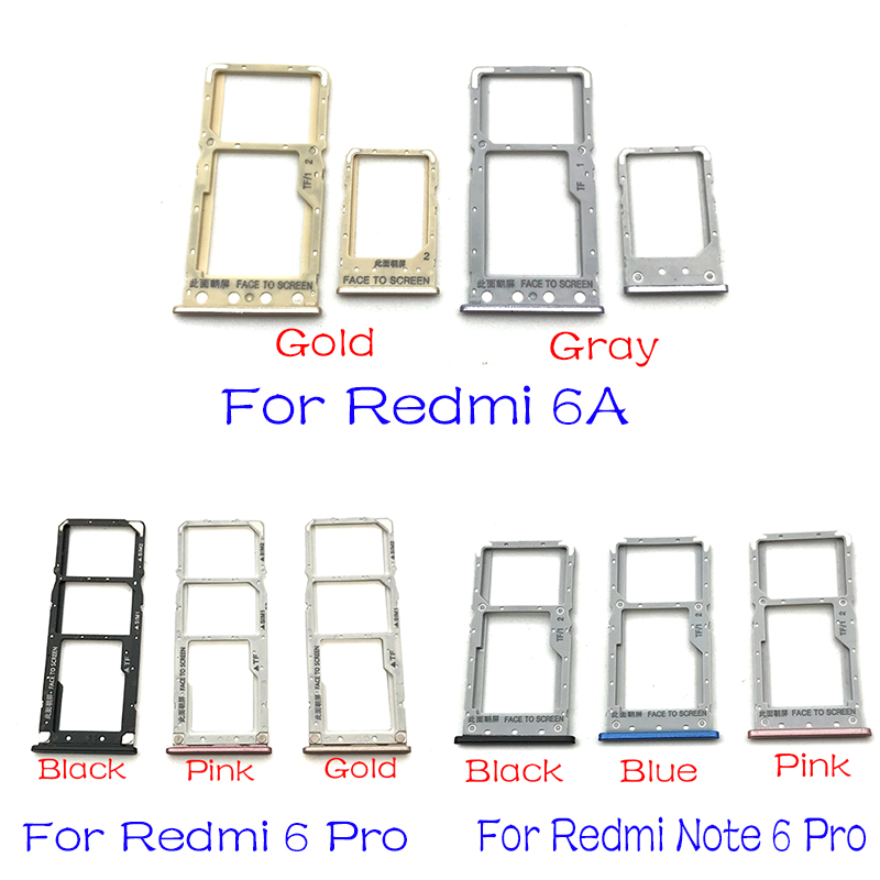 New For Xiaomi Redmi Note 5A 5 7 6 Pro SIM Card Slot SD Card Tray Holder Adapter Replacement Parts