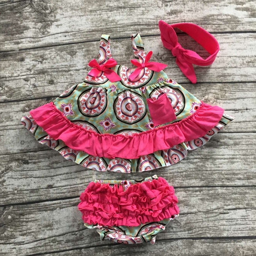 summer little baby girls boutique clothing swing sets infant girl clothes baby hot pink aztec compass swing tops with headband ...