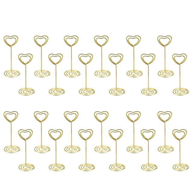hot-24 Pack of Table Number Card Holders Photo Holder Stand Place Card Paper Menu Clips Holders, Gold Heart Shape