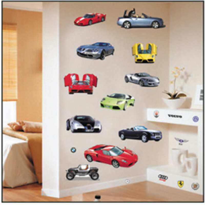 Cheap good quality pvc pvc wall stickers car model for Cheap wall mural decals