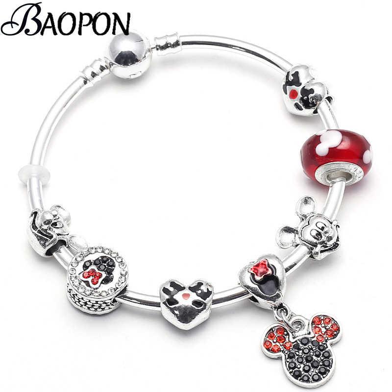 5f5bb3352 BAOPON Fashion Gift Jewelry Mickey & Minnie Charm Bracelet With Nice Beads Pandora  Bracelets & Bangles