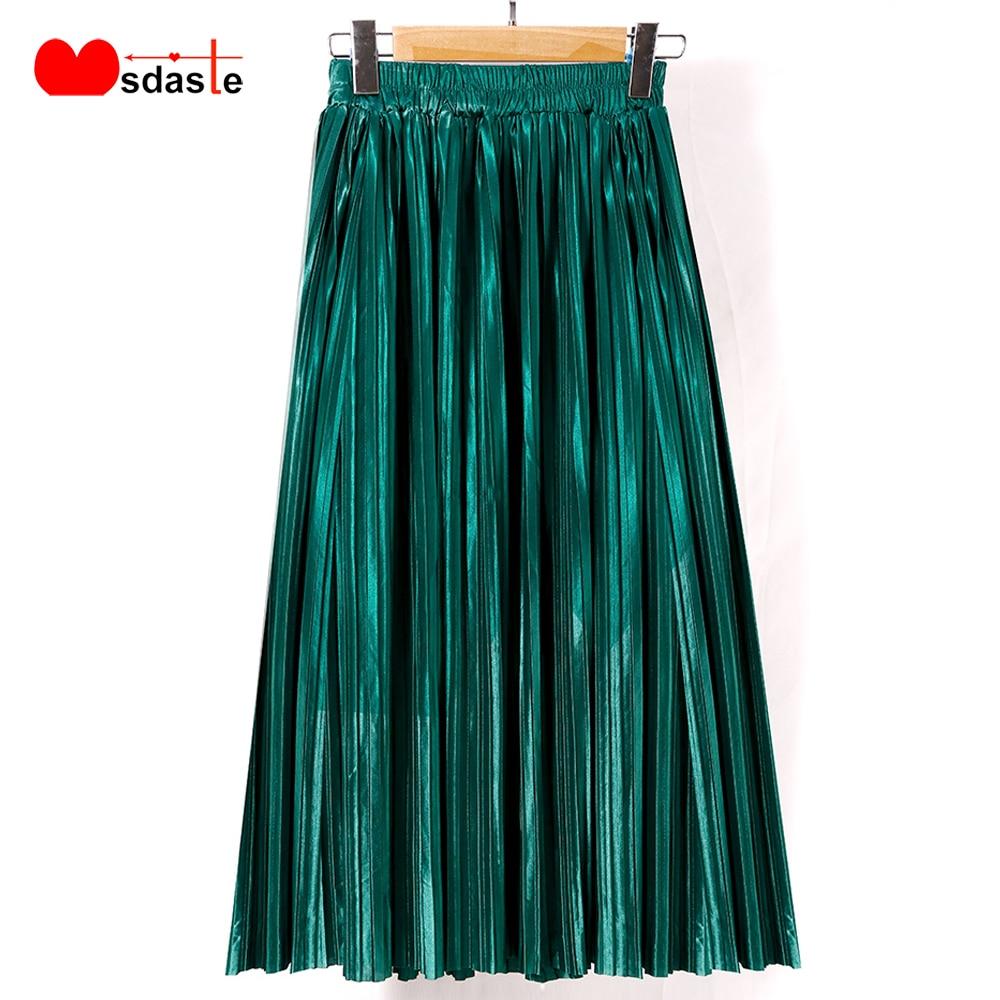 Pleated Skirt New Fashion 2019 Autumn Winter Elastic High Waist Female Casual Lady Bottom Maxi Metallic Silver Midi Women Skirts