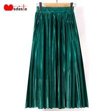 Plisowana spódnica New Fashion 2019 jesienno zimowa elastyczny, wysoki stan damski w stylu casual, damska spódnica Maxi Metallic Silver Midi Women
