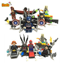 Bevle Captain America/Black Widow/Spider-Man SY296 8Pcs/lot Building Block Toys Compatible with LEPIN Avenger