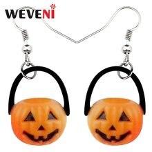 WEVENI akrylowe Halloween uśmiech dyni kolczyki dynda spadek nowy długi prezent roślin biżuteria dla kobiet dziewczyn kobiet prezent hurtownie