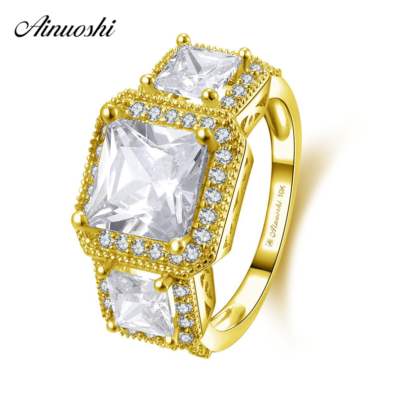 AINUOSHI 10k Solid Yellow Gold Square Halo Ring 1.6ct Princess Cut SONA Diamond Engagement Jewelry 3 Stone Luxurious Bridal Band