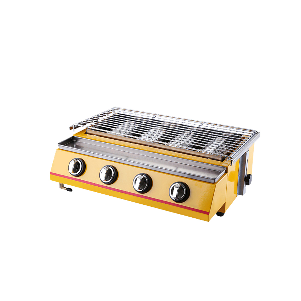Infrared BBQ Grill Smokeless Barbecue 4 Burner LPG Cooking Stove Adjustable Height Easy Cleaned Commercial or Household in BBQ Grills from Home Garden