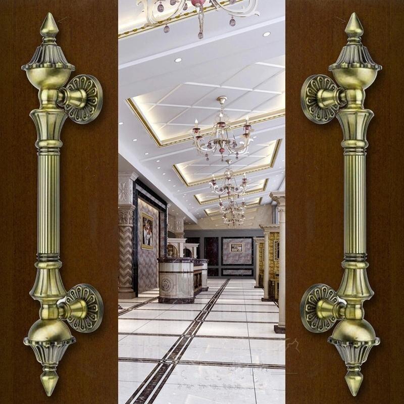 Europen Retro wooden door handles Bronze big gate door pulls antique copper Ktv Hotel Home Office