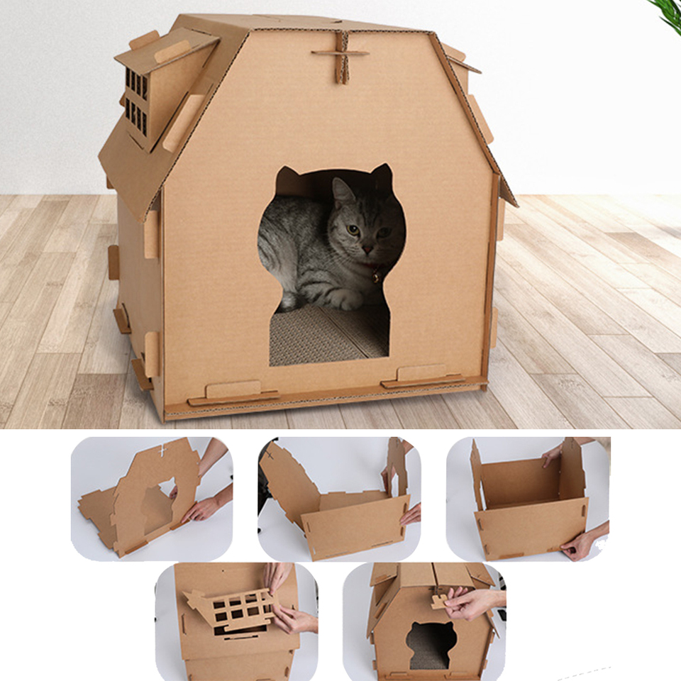 Diy Meuble En Carton pet furniture diy carton box cat house have small window tools scratch  board self assembly kitten indoor corrugated paper toys