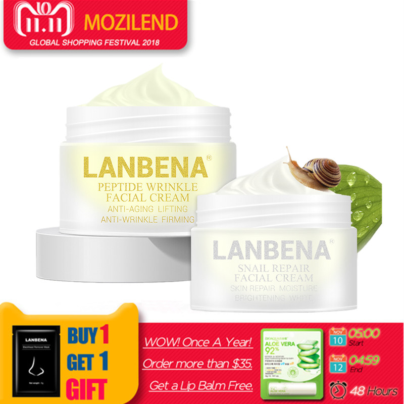 LANBENA peptide anti-wrinkle face cream+snail cream anti-aging Skin care whitening firming lifting day cream for acne treatment подвесная люстра 890040 lightstar