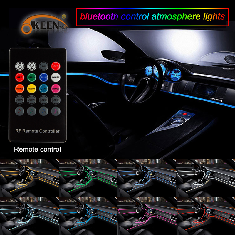 OKEEN Remote control 5M Flexible Neon Light EL Wire Rope Tube Car decor 12V lighter LED Lamp Strip thread sticker decals tags степпер sport elite se 5115