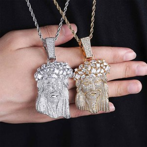 Image 5 - JINAO New Big Jesus Necklace & Pendant With Tennis Chain gold Color Iced Out Cubic Zircon Mens Hip Hop Jewelry Gift