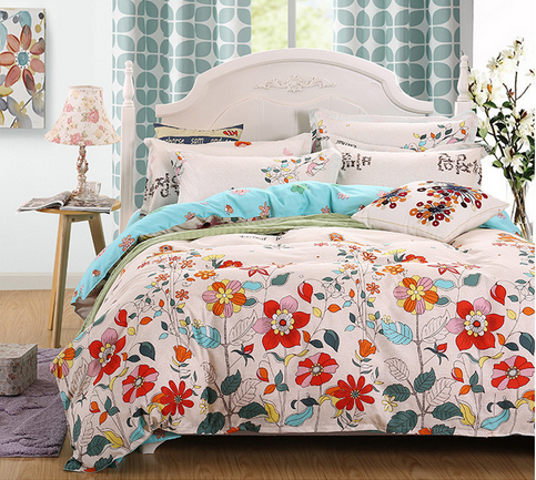 Reactive printing personality polyester muticolor beautiful flowers soft comfortable warm bedding sets with double pillow cases