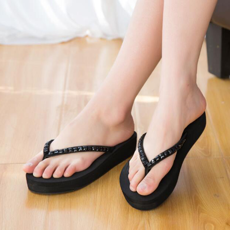 Fashion Solid Women Shoes With Rhinestone Woman Sandals Summer Platform  Flats White Gold Flip Flops Beach slippers z515-in Flip Flops from Shoes on  ... 36f985632c2e