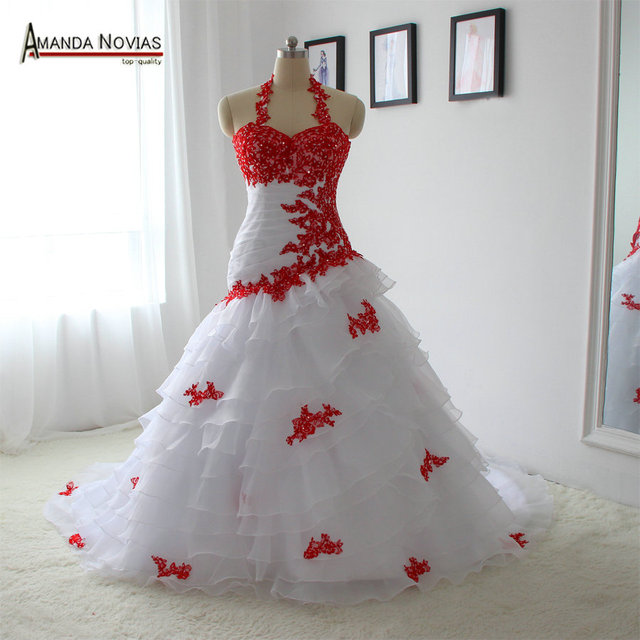 Special Wedding Dress White And Red Color Lace Up Back Bridal Dress