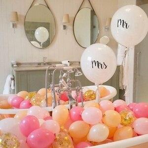 Image 3 - Büyük boy 36 inç Mr Mrs beyaz lateks balonlar düğün parti için, gelin, gelin, nişan parti hava Globos parti malzemeleri