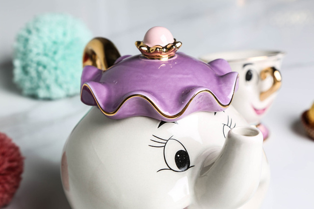 Hot Sale Cartoon Beauty And The Beast Teapot Mug Mrs Potts Chip Tea Pot Cup One Set Nice Christmas Gift Free Shipping 5