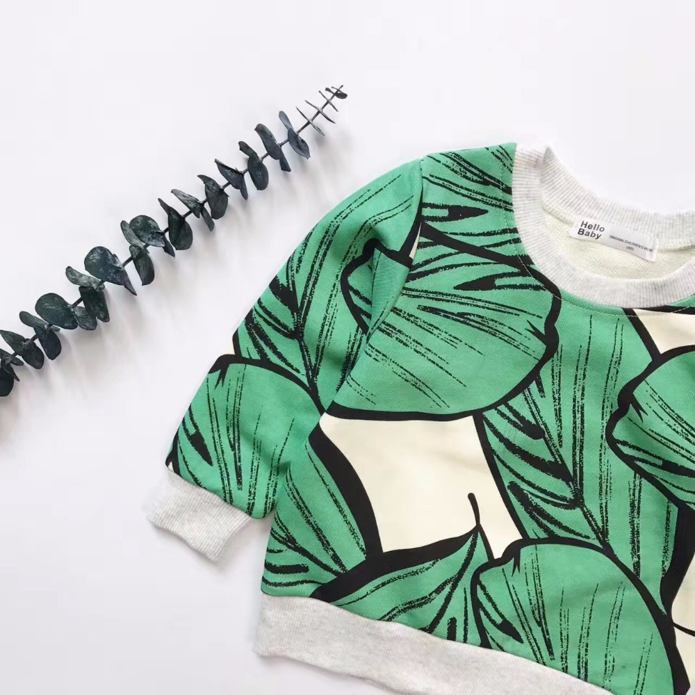 Enkelibb Kids Cotton Sweatshirt Tops Leaf-Print Baby Autumn Fashion Boys/girls Outwear