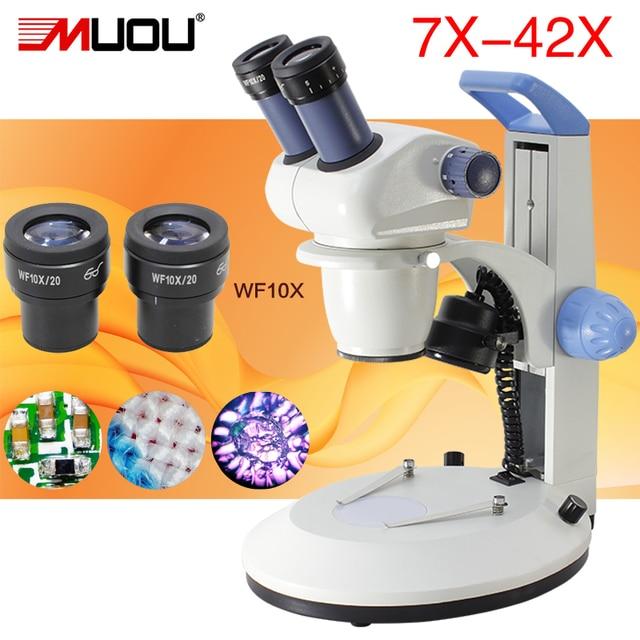 Microscope stéréo binoculaire de marque MUOU industriel grossissement à zoom continu 10-42X sources lumineuses électriques supérieures et inférieures