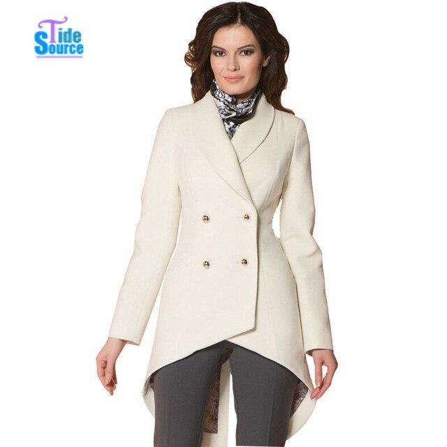 2017 New Fashion Irregular Split Dovetail Winter Coat Women Full Sleeve Warm Woolen Coat Double Breasted Cream Outwear Overcoat