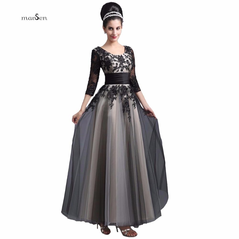 Elegant Long Evening Dresses With 3 4 Sleeve 2016 Gradient