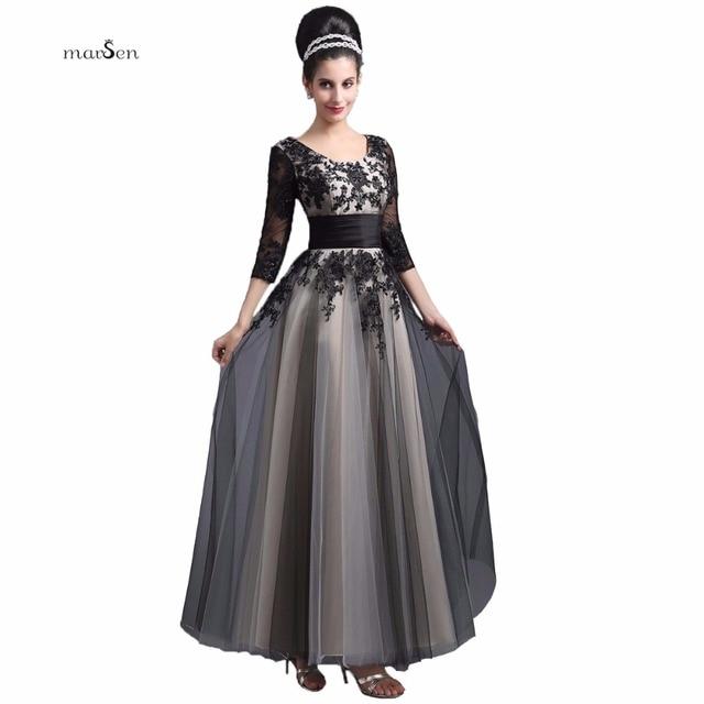 688e2590dc34 Elegantes Vestidos de Noche Largos con Mangas 3/4 2016 Gradiente Apliques  De Lentejuelas Con Cuentas Una Línea Robe De Soirée Formal de Baile ...