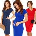 Freeshipping 2014 mujeres del verano vestidos sexy Escote En V elasitc fold color puro ropa para embarazadas embarazadas vestidos casuales de 8 Colores