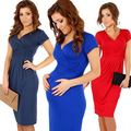 Freeshipping 2014 women summer dresses sexy V-neck elasitc fold pure color pregnant casual dresses 8 Color clothing for pregnant