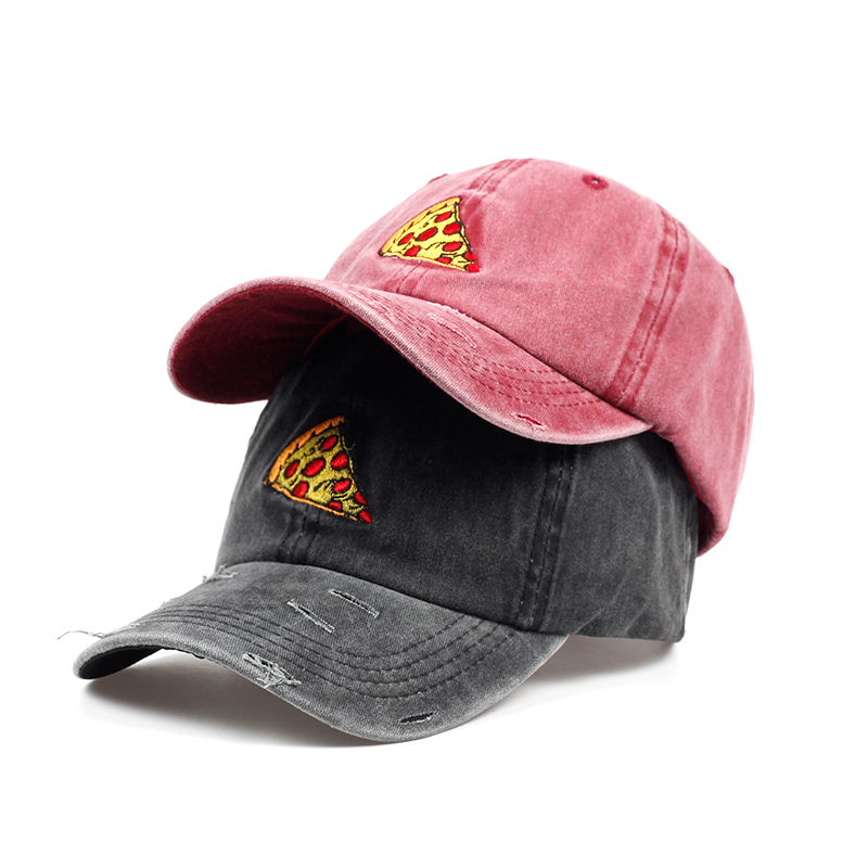 VORON casual brand hat women men water washed   baseball     cap   with Pizza embroidery unisex fashion   cap   hat wholesale
