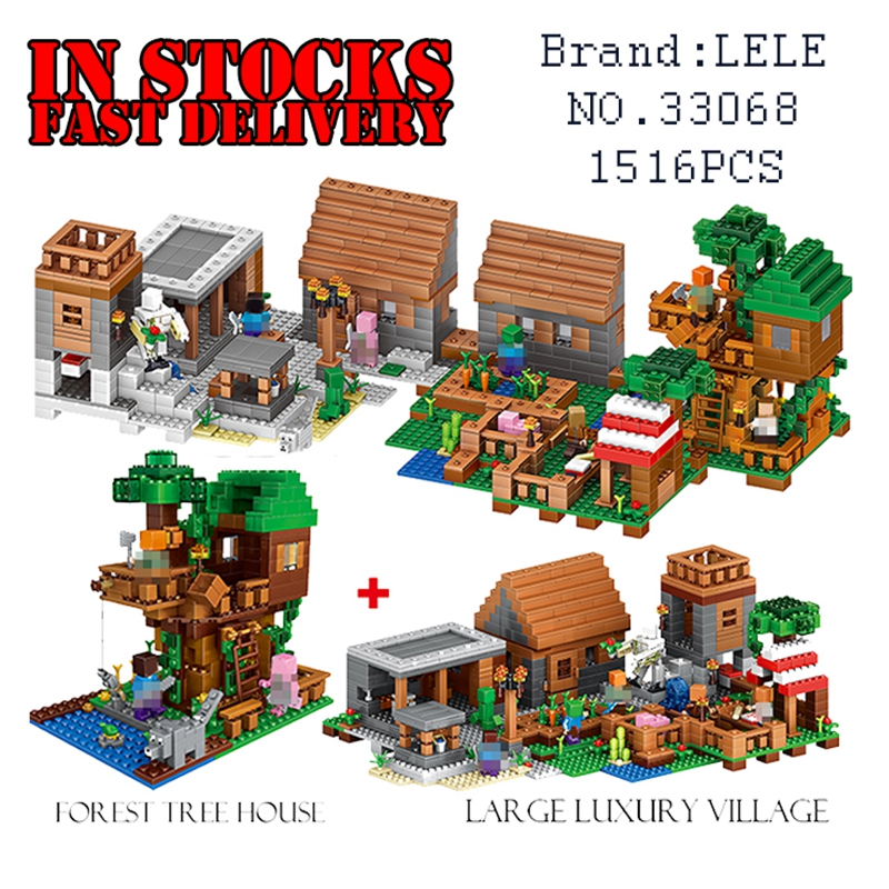 LELE 33068 1516PCS My World Minecraft The Village & Jungle Tree House action figures Building Block Bricks Toy For Children Gift