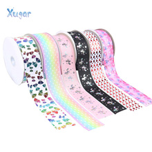 Cute Printed Grosgrain Ribbon 75mm Width 2Y Polyester Rainbow Unicorn Bows Ruban Christmas New Year Ribbons For Craft