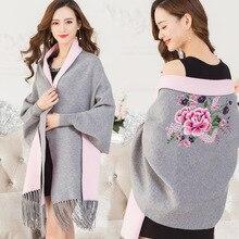 High Quality Embroidery Flower Warm Women Cashmere Scarf Pashmina fashion Soft long Sleeve clothing Tassel Female Winter Ponchos