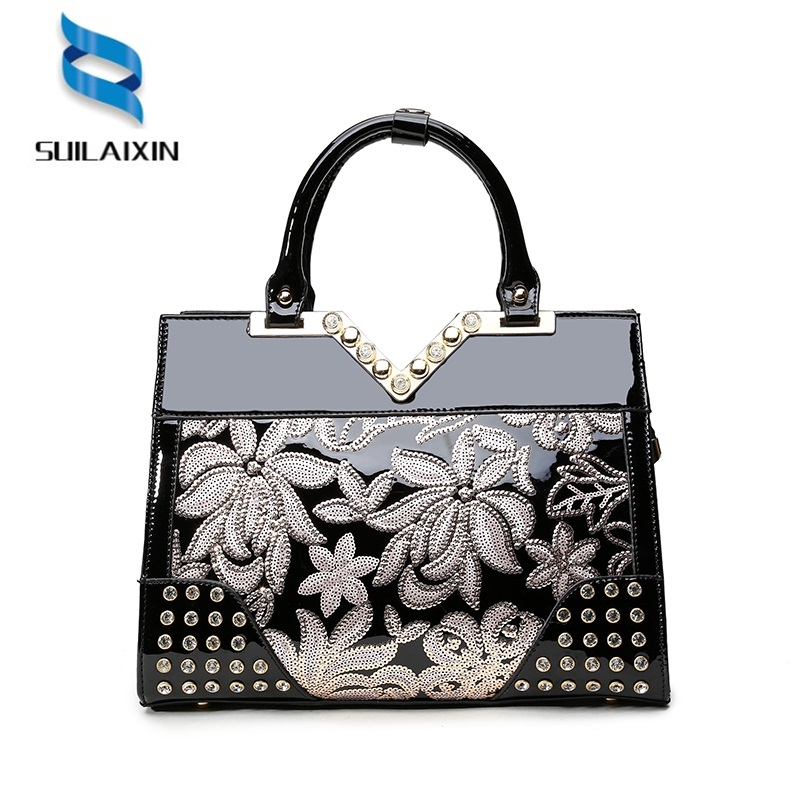 New 2018 Europe Fashion Women Bag Sequined Embroidery Luxury Patent Leather famous Brands Designer Handbags Women Messenger Bags new fashion luxury women bags handbags women famous brands shoulder bag designer tote high quality patent leather messenger bag