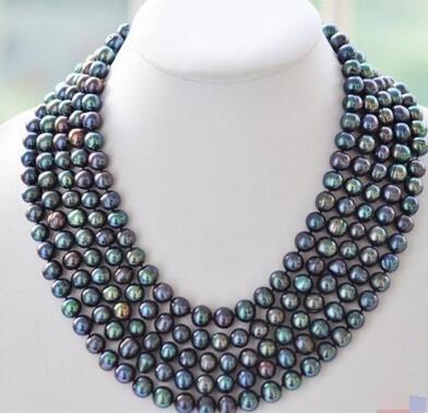 Collier de perles multicolores vert paon d'eau douce naturel 6-7mm collier de 48 pouces bijoux pour femmes en argent