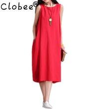 acb4296a58 Clobee white red cotton linen plus size women robe chemise White loose long  summer dress vestidos femininos party 2017 dresses