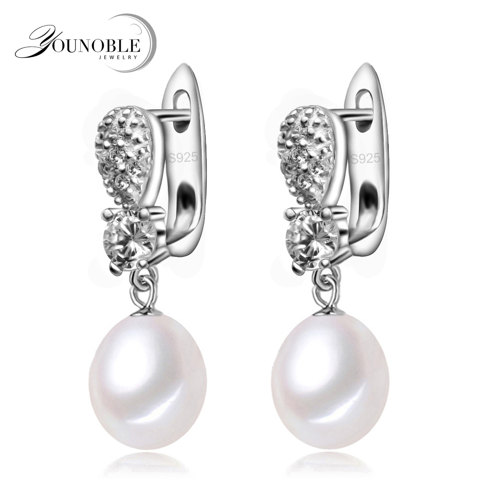 YouNoble real 925 font b silver b font font b earring b font with pearls for