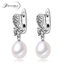 YouNoble real 925 silver earring with pearls for women,drop freshwater pearl earrings jewelry wedding mom daughter birthday gift