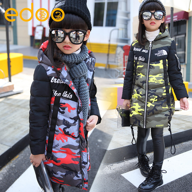 ФОТО Fashion Girl's Down jackets/coats winter Russia baby Coats thick duck Warm jacket Children Outerwears -30degree jackets