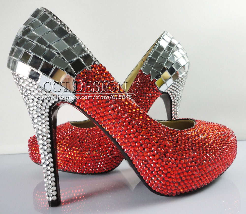 Custom Made Platform Mirror Pumps Rhinestone Stiletto Women Sexy