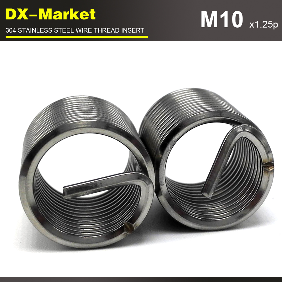 M10*2D *1.25P , 50pcs , Fine Pitch Thread  304 Stainless Steel Bolt Thread Inserts , Thread Repair Recoil Insert Fastener