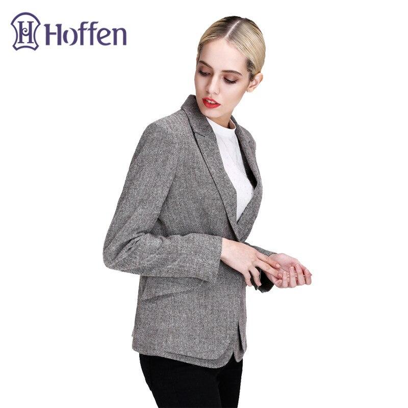 Gris Casual Pardessus Hoffen Fit 2017 Mode Slim Blazer Survêtement Bouton Vestes Femmes Feminino Style Un Court Ol n00UAqwxa