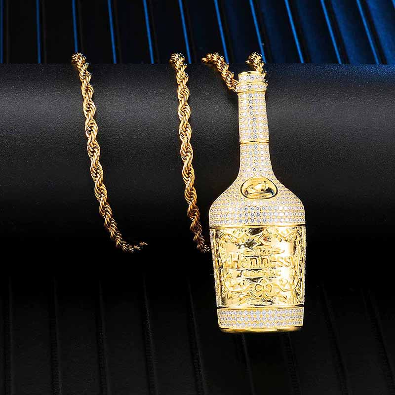 Personality Shiny Full Paved Zircon Wine Bottle Necklace Men Hip Hop Gold Color Twisted Rope Chain Collares