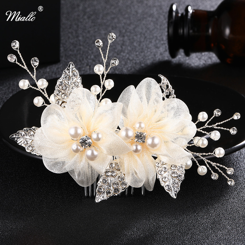 Miallo Charm Ivory White Silk Flower Hair Comb For Brides Handmade